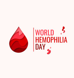 world hemophilia day - red paper cut blood drop vector image