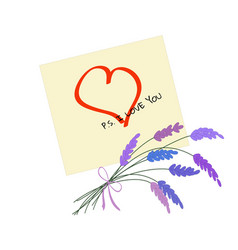 yellow sticker with drawed heart bouquet of vector image