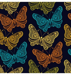 Zentangle stylized Butterfly seamless pattern for vector image