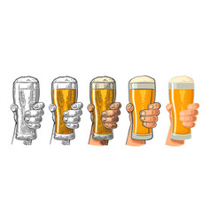 man hand holding and clinking beer glass vector image vector image