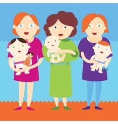 Mothers holding beautiful babies vector image