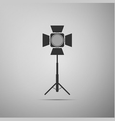 movie spotlight icon isolated on grey background vector image
