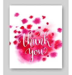 Thank you watercolor card template Bright hand vector image