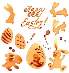 Easter Set of Labels Rabbits and Eggs vector image