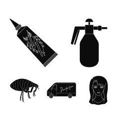 Flea special car and equipment black icons in set vector