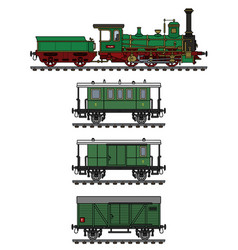historical green steam train vector image vector image