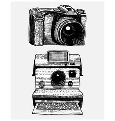 instant and modern photo camera vintage engraved vector image vector image