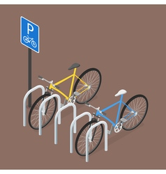 Isometric Bicycle Parking Flat style vector image