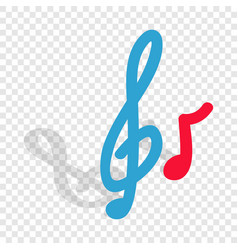 music key and note isometric icon vector image