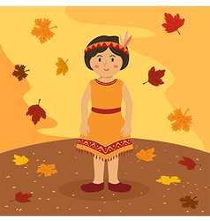 Thanksgiving Native Indian Short Hair Girl vector image