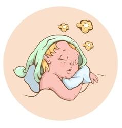 The baby sleeping sweetly vector image
