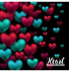 Valentines day card with volume hearts red and vector image vector image