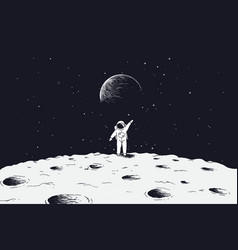astronaut stand on surface of moon vector image vector image