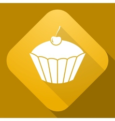 icon of Cake with a long shadow vector image