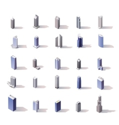 isometric skyscrapers set vector image vector image