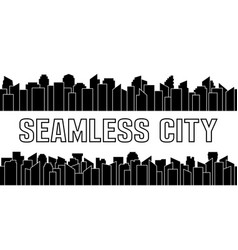 set of black seamless city silhouette urban and vector image
