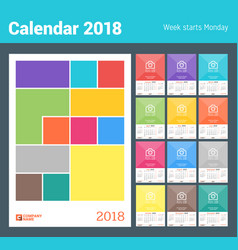 wall monthly calendar for 2018 year design print vector image vector image