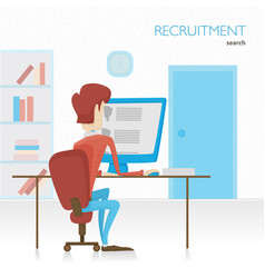 agent hr searches for employees viewing summary vector image