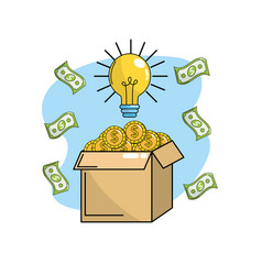 Coins inside box with bulb idea and bills vector