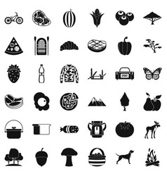 forest rest icons set simple style vector image vector image