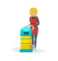 girl retracts in hotel vacuums collects dust vector image vector image