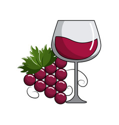 glass of wine and grape fruit tasty vector image vector image