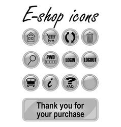 metallic e-shop buttons set for website elegant vector image