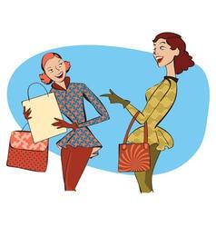 Retro ladies shopping vector image vector image