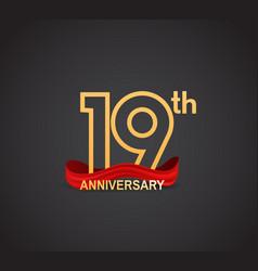 19 anniversary logotype design with line golden vector
