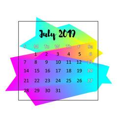 2019 calendar design concept july 2019 vector image