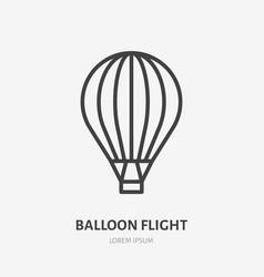 Air hot balloon flat line icon thin sign vector
