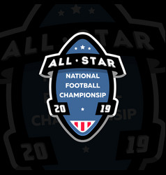 All star american football logo on a dark vector