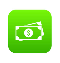 American dollars icon digital green vector