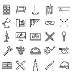 Architect material tool icons set outline style vector