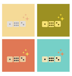 Assembly flat icons poker dice lucky vector