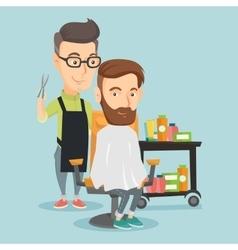 Barber making haircut to young man vector image
