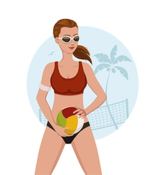Beach volley girl vector