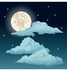 Beautiful night sky stars clouds moon vector