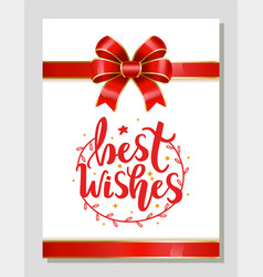 Best wishes greeting card on xmas new year gift vector