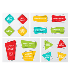 big set with bright colors geometric sale tags vector image