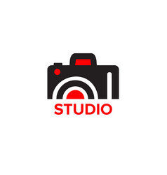 black and red icon for photographer camera icons vector image