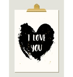 Black Heart Typographic Poster vector image