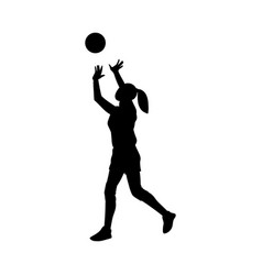 Black silhouette woman playing volleyball vector