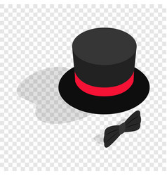 Black top hat and bow tie isometric icon vector
