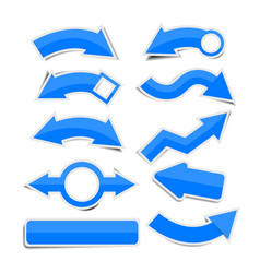 Blue paper arrow stickers with shadows vector