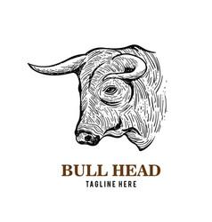 Bull head logo design vector