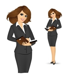 Businesswoman writing in planner vector
