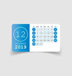 Calendar december 2019 year in paper sticker with vector