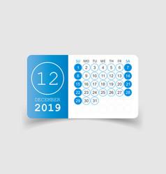 Calendar december 2019 year in paper sticker with vector