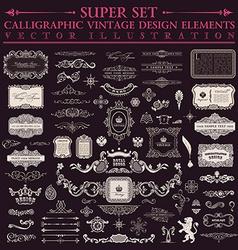 Calligraphic design elements baroque set Vintage vector